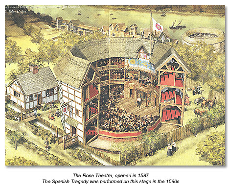 The Rose Theatre, opened in 1587. The Spanish Tragedy was performed on this stage in the 1590s.