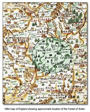 1564 map of England showing location of the Forest of Arden