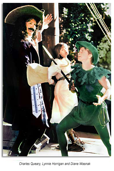 Diane Wasnak as Peter Pan, Charles Queary as Captain Hook and Lynnie Horrigan as Wendy  in Peter Pan - Marin Shakespeare 1996