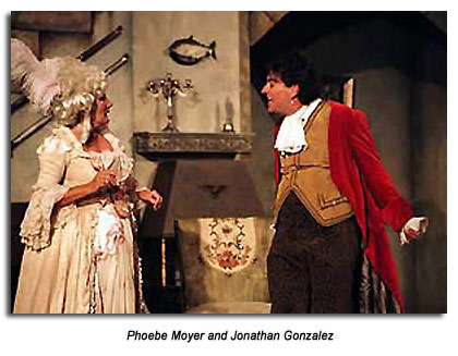 Phobe Moyer as Mrs.  Hardcastle and Jonathan Gonzales as Tony Lumpkin