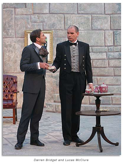 Darren Bridgett as Algernon Moncrieff and Lucas McClure as Lane, the butler