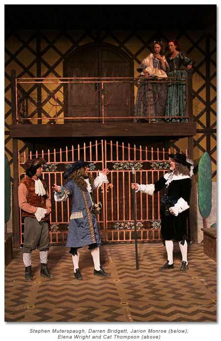 Cliton, Dorante's servant , Dorant, Dorant's Father (foreground)