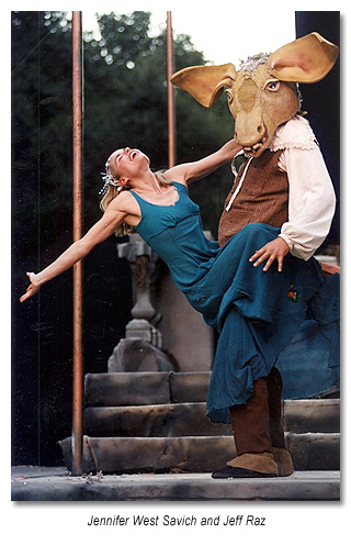 Titania and Bottom in a Marin Shakespeare production