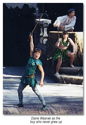 Peter Pan crows and says Follow Me